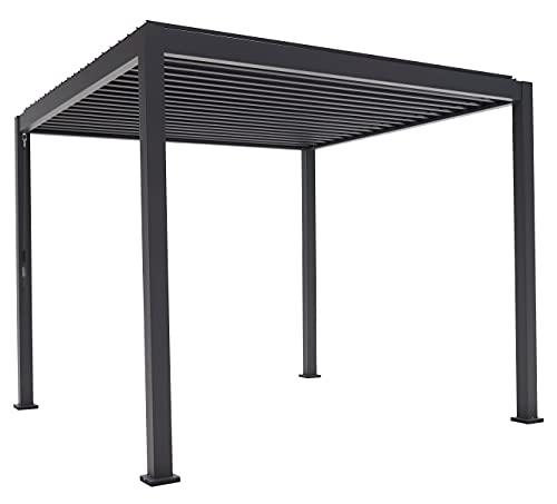 SORARA Basic Mirador Pavillon 3 x 3 m Wasserdicht - Pergola mit Lamellendach - Aluminium/Stahl terrassenüberdachung - Schwarz - 88MM