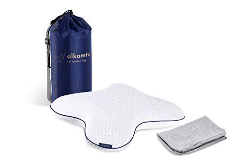 Alkamto HWS - Almohada cervical ergonómica de espuma viscoelástica, almohada ortopédica para dormir de lado y de espalda, funda termorreguladora y funda de algodón adicional