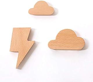 anaan Weather Porta Llaves de Pared Magnetico Colgador Llaves Madera Magnético Imán de Nevera Etiqueta 3M Adhesivo Diseño Moderno (Nube Forma Rayo Paquete de 3)