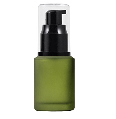 Happyupcity 1 x grüne gehobene leere nachfüllbare Glas-Kosmetik-Creme-Lotion-Pump-Flasche für Duschgel, ätherisches Öl, Shampoo, Probe, Pressflasche, Behälter, Kosmetik, Make-up, Spender (60 ml)