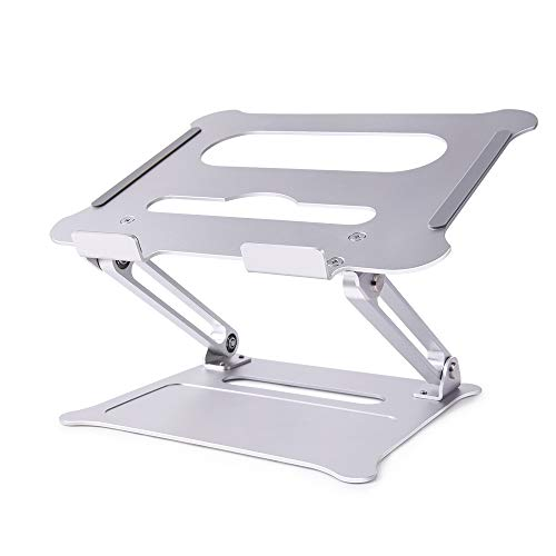 LONGKO Foldable Laptop Stand, Aluminum Adjustable Multi-Angle Laptop Riser with Heat Vent, Portable Laptop Holder Ergonomic Elevator (Silver)