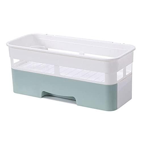 LOPIXUO Estante de baño Blanco Estantes flotantes para baño Estante para champú Cesta de Almacenamiento montada en la Pared Organizador de Cocina con cajón WC Accesorios de baño, Azul