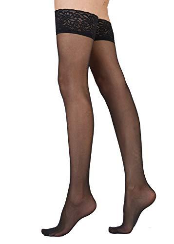 Pretty Polly Damen Day To Night 15d Sheer Lace Top Hold Ups 2pp Strumpfhose, 15 DEN, Schwarz (Black Black), Medium (Herstellergröße: SM)