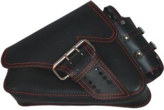 La Rosa Design 04-UP H- D Sportster/Nightster/883 Iron/XL1200 Left Side Saddle Bag/Swingarm Bag with Fuel Bottle Black Leather Red Thread