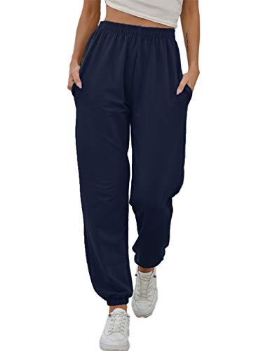Vemubapis Mujer Pantalones CháNdal Joggers Cintura Alta Holgados SalóN Casuales Pantalones Armada S