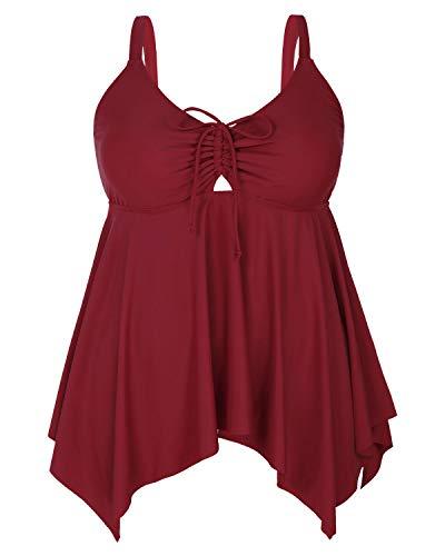 Yonique Womens Plus Size Swim Top Flowy Bathing Suits Front Tie Tankini Swimsuits Top Loose Swim Dress No Bottom Red 18plus