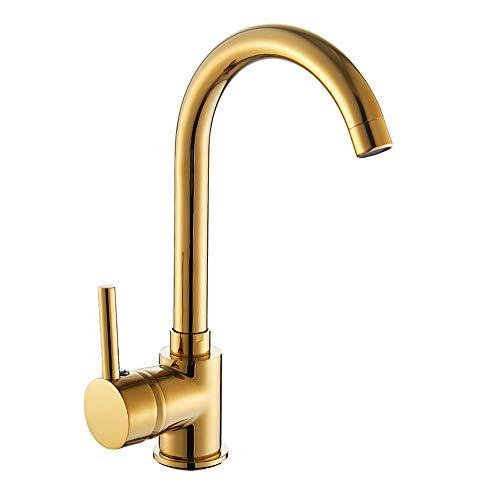 Windyeu Küchenarmatur 360° Drehbar Gold Edel Einhebelmischer aus Edelstahl Zink-Legierung Messing Wasserhahn