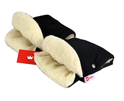 BABYLUX MUFF Handmuff PLÜSCH/WOLLE Handwärmer für Kinderwagen Buggy Handschuh 2 Stück (11. Schwarz + Lammwolle)