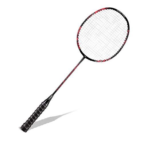 CZ-ING Raqueta de bádminton unisex para adultos con eje de fibra de carbono, raqueta de bádminton profesional de alta tensión (rojo)