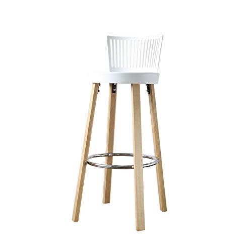 Guo shop- Chaises en bois solide de barre, tabouret moderne européen de loisirs moderne, siège simple et pratique élevé 77 CM (couleur multiple) Bonne chaise (Couleur : Blanc)
