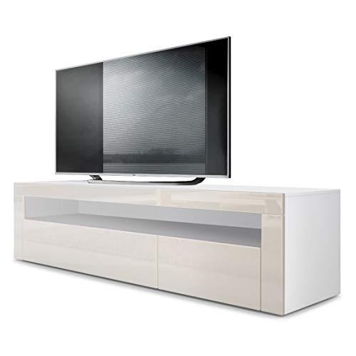 Vladon TV Board Lowboard Valencia, Korpus in Weiß matt/Front in Creme Hochglanz mit Rahmen in Creme Hochglanz