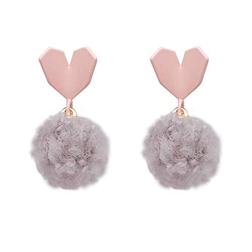 Women's long earrings Heart-shaped hair ball girl gentle earrings 925 sterling silver earrings beautiful package Can be used as a gift