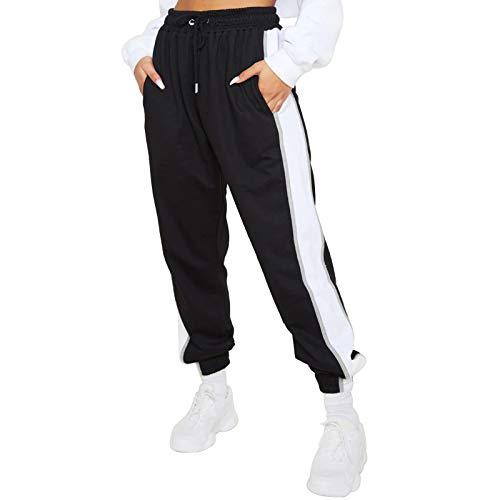 OEAK Damen Sporthosen Lang Jogginghose Elastischer Bund Streifen Freizeithosen mit Kordelzug Hohe Taille Traininghose Bequeme Sweathose