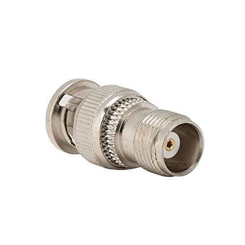 Emoshayoga Cable coaxial de latón niquelado de la Cabeza del Adaptador del convertidor para Las telecomunicaciones