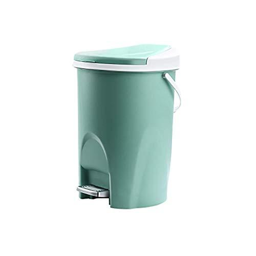 Cubo de basura con tapa de plástico para cubo de basura, cubo de basura para cuarto de baño, dormitorio, cocina, oficina, escritorio, papelera (color verde, tamaño: S) kshu