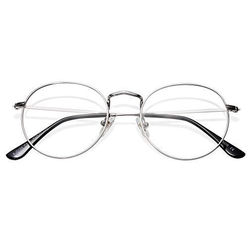 SOJOS Blaulichtfilter Brille Damen Herren Computerbrille Vintage-orientiertes Rund Design SJ5024 mit Silber Rahmen/Anti Blaulicht Linse