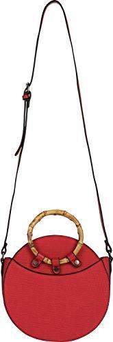styleBREAKER Bolso de Bandolera Redondo de Mujer con Asas de bambú y Superficie estructurada, Bolso de Hombro, Bolso de asa, Bolso 02012292, Color:Rojo