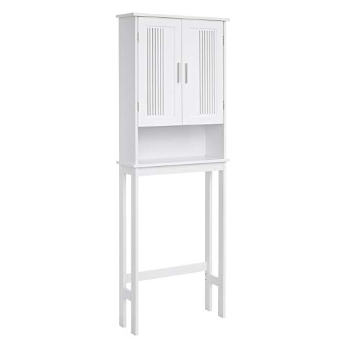 VASAGLE Bathroom Space Saver Cabinet, Over-The-Toilet Storage Unit, 4-Tier Adjustable Shelf Organizer, Adjustable Bottom Bar, White UBBC10WT