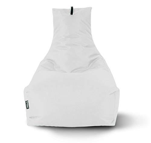 Lounge Sitzsack Liege Beanbag 32 Farben wählbar 90cm(Ø) Rückenlehne Bodenkissen Indoor Outdoor Sitzsäcke Gaming Kinder Bean Bag Erwachsene Riesensitzsack gefüllter Sessel (Weiß)