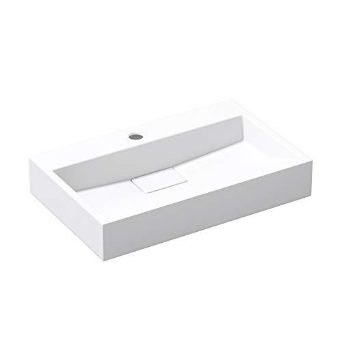 doporro: Lavabo sobre encimera de mármol fundido blanco mate diseño Colossum19, 60 cm de ancho | con Nano-revestimiento
