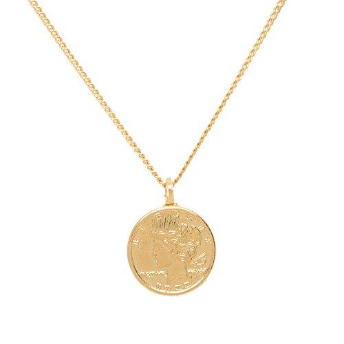 Tom Shot Damen-Halskette MÜNZE beidseitig geprägt Messing mit 18 Karat vergoldet Kettenlänge 40 cm + 6 cm Verlängerung - 79ke3212g