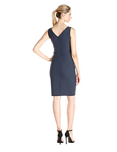 Alex Evenings Women's Short Side Ruched Dress with Cascade Ruffle Skirt, Charcoal, 14