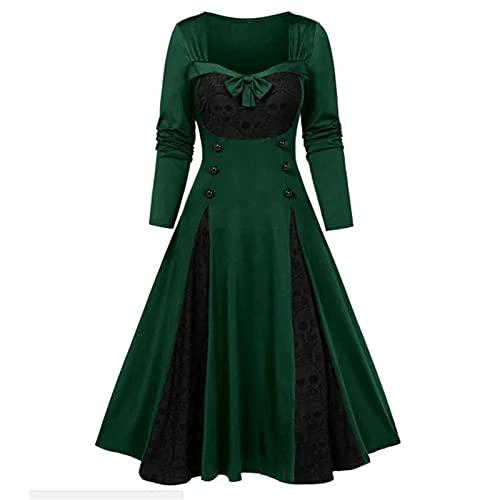 Baiomawzh Damen 1950er Kleider Gothic Kleid Renaissance Maxikleid Cosplay Dress Langarm Colorblock Kleider Mittelalter Dress Elegant Retro...