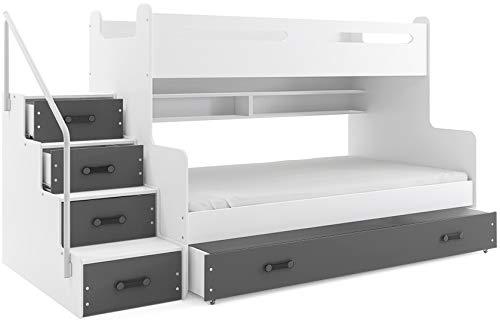 Interbeds Lit 3 Places Max 3 200x80 et 200x120 avec Matelas sommier tiroir et escalier (Blanc+Gris)