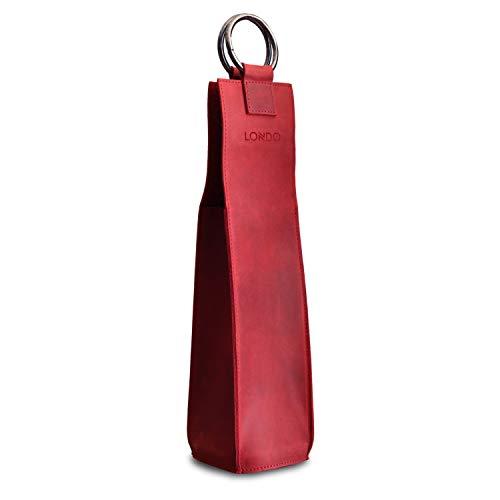 Londo - Portabotellas de Vino en Cuero Auténtico (Rojo)