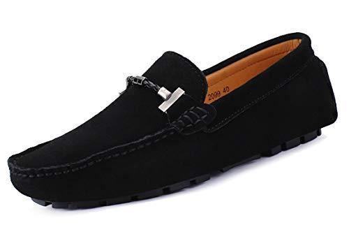 SMajong Herren Klassische Mokassin Wildleder Penny Loafers Comfort Halbschuhe Bootsschuhe Weich Flache Fahrende Schuhe,Schwarz,44 EU