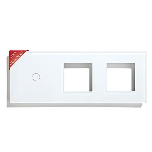 BSEED Marco panel de marco de vidrio para interruptor de luz y enchufe panel de vidrio de cristal panel de vidrio para interruptor de luz de pared y enchufe 1 Gang Blanco 228 mm