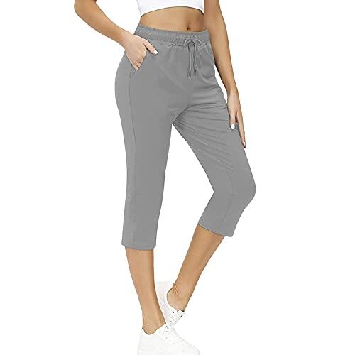 Pantalones Mujer de Color Sólido con Bolsillos Laterales Pantalón Mujer con Cintura Elástica Ajustable Pantalones Cortos Mujer Suelta Casual Pantalón Corto Mujer Ideal para Deporte,Vida Diaria,Trabajo