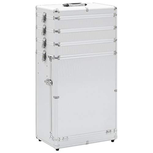 FESTNIGHT Maletín para Maquillaje Carretilla de Maquillaje Profesional Case Rolling Trolley Caja de Aluminio Plateado 37 x 24 x 74 cm