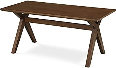 Adore Decor Lukas Solid Wood Coffee Table, Mid-Century Modern Living Room Furniture Rectangle Tabletop with Cross-Stretcher Trestle Base, Walnut Brown