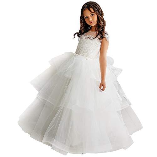 CQDY Niña de Flores Vestidos de Encaje Boda de Dama de Honor Vestido de niña de Flores Fiesta Formal Concurso Vestido de Gala Vestido de Navidad Regalos de cumpleaños (Blanquecino, 10-11Año Viejo)