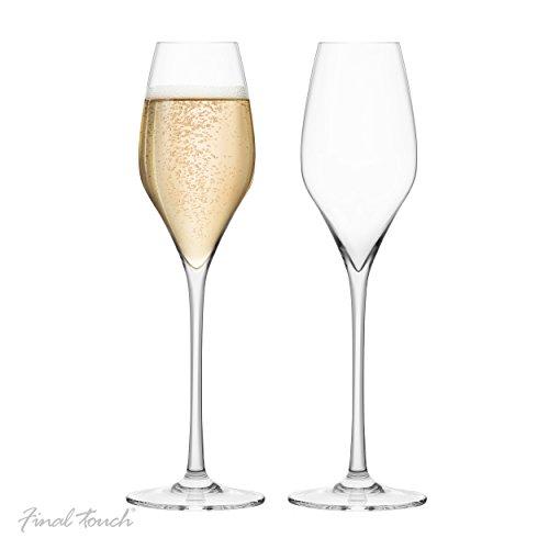 Final Touch 100% Lead-Free Crystal Champagne Flutes Sektgläser Kristallglas Hergestellt mit DuraSHIELD Titanium verstärkt für erhöhte Haltbarkeit Hoch 27,8 cm 340ml - Packung mit 2 Stück