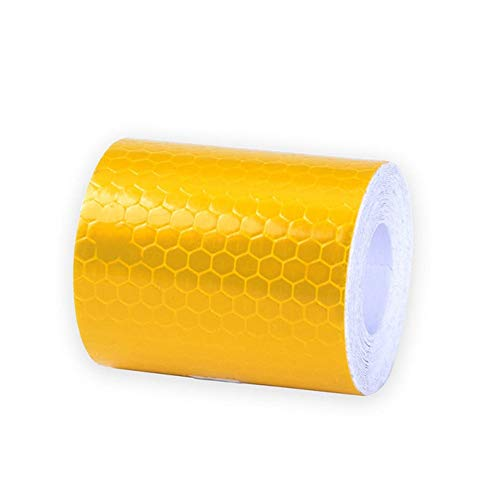 KAERMA 3M Auto-reflektierender Klebeband-Dekoration-Aufkleber Auto Warnung Sicherheit Spiegelung Band Film Auto Reflektor Aufkleber auf Auto-Styling Reflexfolie (Color : Yellow)