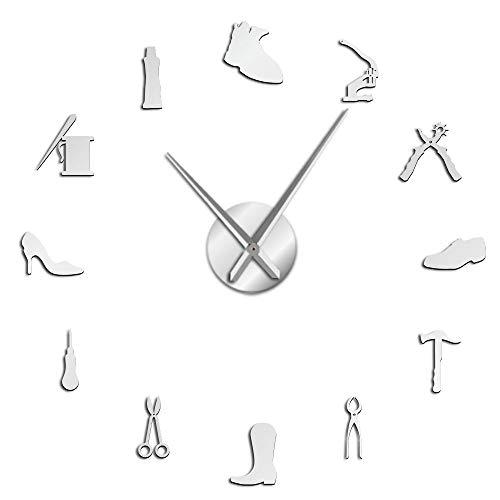 YH Reparación de Zapatos Arte de la Pared DIY Reloj de Pared Gigante Zapatero Decoración del hogar Sin Marco Reloj de Pared Grande Zapatería Zapatería Arquero Zapatero Regalos-90CM,Plata