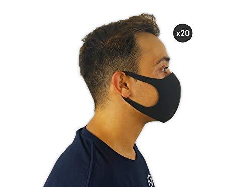 Gesichtsmaske (20 Stück), Mundschutz Maske Waschbar, Mundschutz Maske Schwarz, Wiederverwendbare, Gesichtsmaske waschbar, Mund- und Nasenmaske waschbar, Schutzmasken, Face Masks