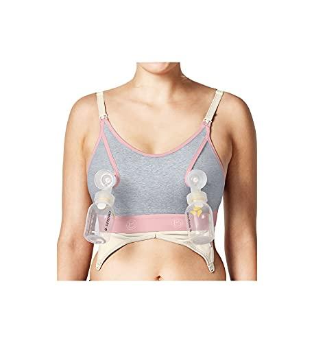 BRAVADO! Design Sutiã de amamentação feminino com clipe e bomba para amamentação sem as mãos, P - GG, Dove Heather, X-Large