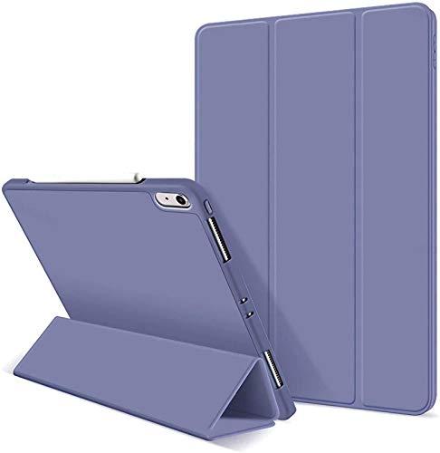 FANG Estuche para iPad Air 4 10.9 Pulgadas 2020 - Estuche Protector con Portalápices [Admite Carga De Lápiz De 2.a Generación], Carcasa Trasera De TPU Suave [Support Touch ID],Purple