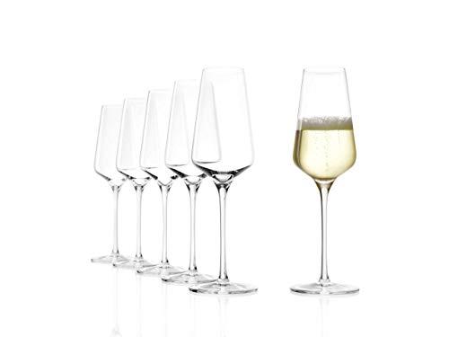 Stölzle Lausitz Champagnerkelch Starlight 290ml I Sektgläser aus Kristallglas 6er Set I Sektkelche spülmaschinenfest I Champagnergläser bruchsicher I hochfunktionelle Champagnerkelche