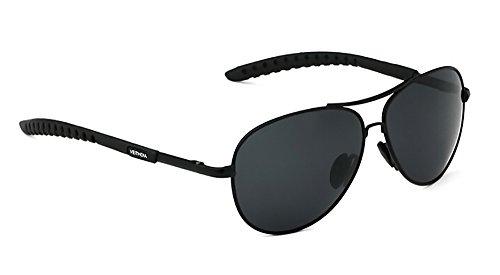 VEITHDIA Aleación Hombres Gafas De Sol Polarizadas Lente Conductor Espejo Gafas Hombre Conducción Pesca Exterior Gafas 3088 (Negro, 65)