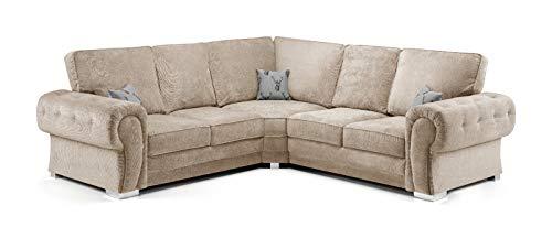 Honeypot - Sofa – Verona – Fullback – Ecksofa – 3-Sitzer – 2-Sitzer – Fußhocker (beige, 2C2 Eck).
