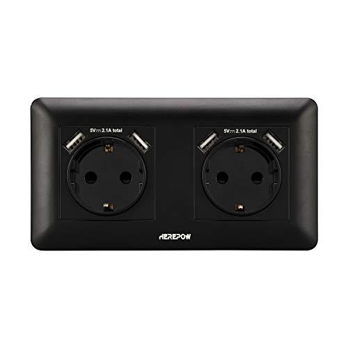 Los enchufes dobles tienen cuatro salidas de interfaz USB, los enchufes de pared y los enchufes integrados se utilizan en el hogar, la oficina y otros escenarios (Negro)