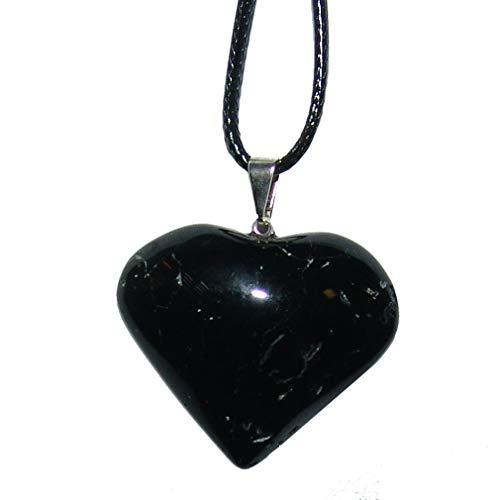 Turmalin schwarz/Schörl Herz Anhänger mit silberfarbener Metall Öse ca. 30 mm