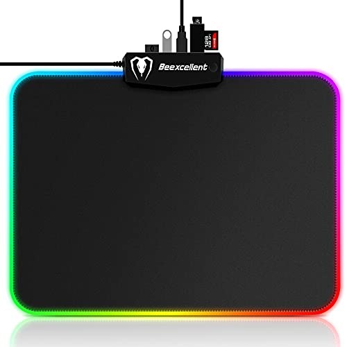 Gaming Mouse Pad, 4 USB Ports RGB Mouse Pad with 14 Light Modes, 5mm Thick LED Mouse Pad, Non-Slip, Waterproof, Smooth Led Desk Pad for Gamer, Computer, Laptop, Office