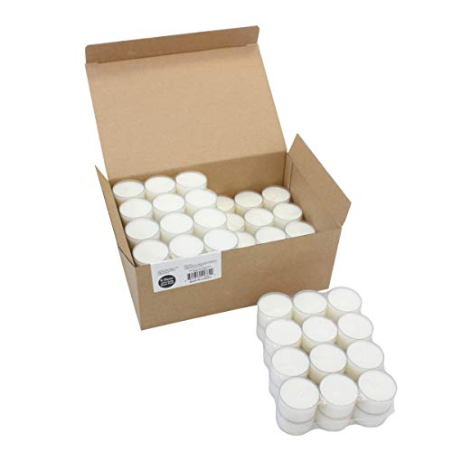 Stonebriar 8 Hour Long Burning Unscented Clear Cup Tea Light Candles, 96 Pack