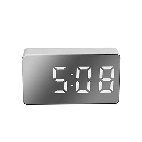 Crazyfly Despertador eléctrico, mini multifuncional LED digital reloj de superficie espejo reloj...