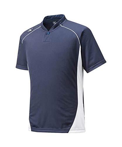 ミズノ(MIZUNO) ジュニア ベースボールシャツ・小衿・ハーフボタン 12JC6L12 74 ネイビー/ホワイト 160